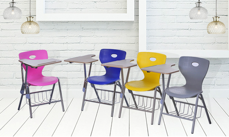 plastic school chairs with writing pad