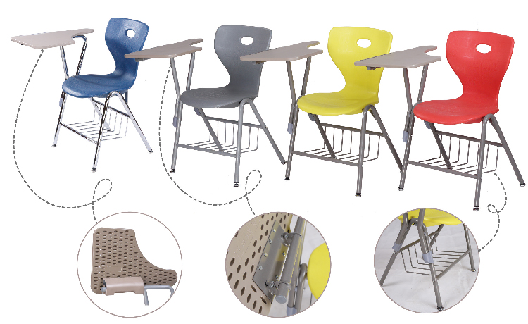 plastic school chair with writing pad