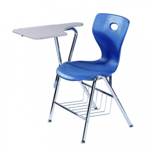 college plastic school chair with writing pad